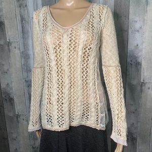 American Rag Knit Lace Cream Long Sleeve Knit Top